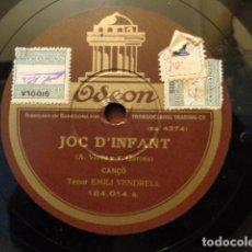 Discos de pizarra: EMILI VENDRELL - JOC D'INFANT (184.014 A) - LO CAVALLER (184.014 B) / ODEON. Lote 133754126