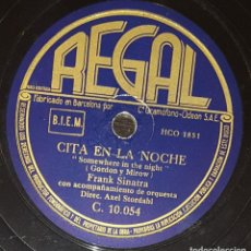 Discos de pizarra: DISCOS 78 RPM - FRANK SINATRA - ORQUESTA - SOMEWHERE IN THE NIGHT - PIZARRA. Lote 133755966