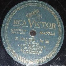 Discos de pizarra: DISCOS 78 RPM - LOUIS ARMSTRONG - ORQUESTA - ST. LOUIS BLUES - MORENO ESTIBADOR - PIZARRA. Lote 133831966