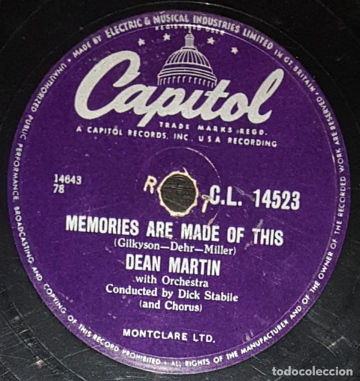 DISCOS 78 RPM - DEAN MARTIN - ORQUESTA - MEMORIES ARE MADE OF THIS - CHANGE OF HEART - PIZARRA (Música - Discos - Pizarra - Solistas Melódicos y Bailables)