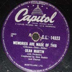 Discos de pizarra: DISCOS 78 RPM - DEAN MARTIN - ORQUESTA - MEMORIES ARE MADE OF THIS - CHANGE OF HEART - PIZARRA. Lote 133836350