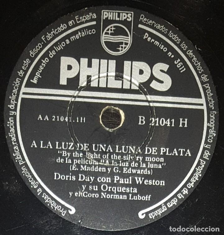 DISCOS 78 RPM - DORIS DAY - PAUL WESTON - ORQUESTA - FILM - A LA LUZ DE LA LUNA - PIZARRA (Música - Discos - Pizarra - Solistas Melódicos y Bailables)