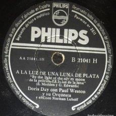Discos de pizarra: DISCOS 78 RPM - DORIS DAY - PAUL WESTON - ORQUESTA - FILM - A LA LUZ DE LA LUNA - PIZARRA. Lote 133841222