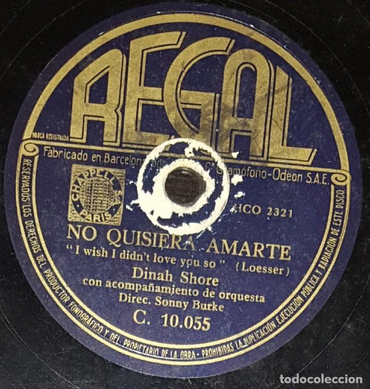 DISCOS 78 RPM - DINAH SHORE - ORQUESTA - NO QUISIERA AMARTE - ME GUSTA MÁS LA CIUDAD - PIZARRA (Música - Discos - Pizarra - Jazz, Blues, R&B, Soul y Gospel)