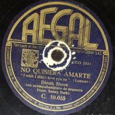 Discos de pizarra: DISCOS 78 RPM - DINAH SHORE - ORQUESTA - NO QUISIERA AMARTE - ME GUSTA MÁS LA CIUDAD - PIZARRA. Lote 133849702