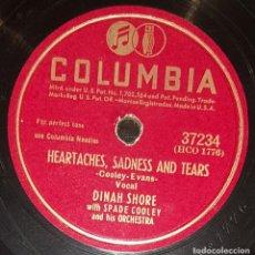 Discos de pizarra: DISCOS 78 RPM - DINAH SHORE - SPADE COOLEY - ORQUESTA - ANNIVERSARY SONG - PIZARRA. Lote 133850294