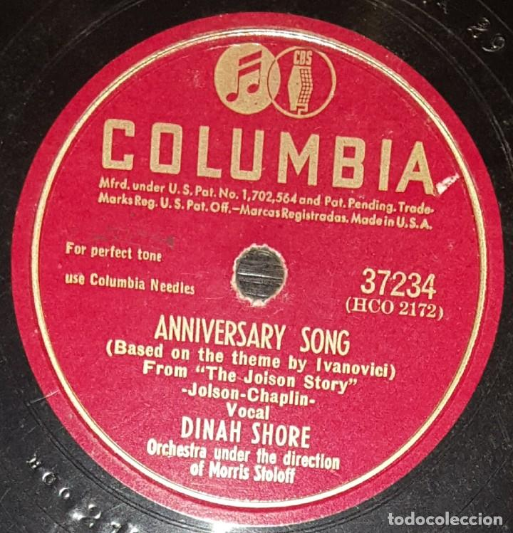 Discos de pizarra: DISCOS 78 RPM - DINAH SHORE - SPADE COOLEY - ORQUESTA - ANNIVERSARY SONG - PIZARRA - Foto 2 - 133850294