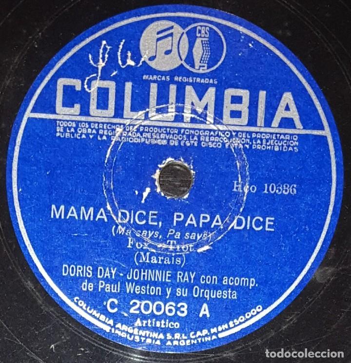 DISCOS 78 RPM - DORIS DAY - JOHNNIE RAY - PAUL WESTON - ORQUESTA - MA SAYS, PA SAYS - PIZARRA (Música - Discos - Pizarra - Solistas Melódicos y Bailables)