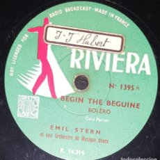Discos de pizarra: DISCOS 78 RPM - EMILE STERN - ORQUESTA - BEGIN THE BEGUINE - COLE PORTER - NIGHT AND DAY - PIZARRA. Lote 133852190