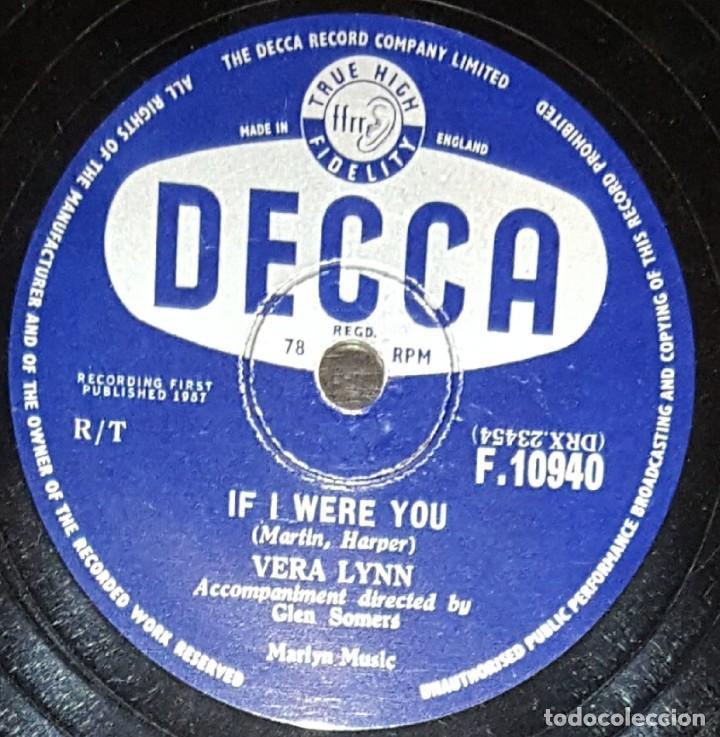 DISCOS 78 RPM - VERA LYNN - ENGLISH SINGER - IF I WERE YOU - ACROSS THE BRIDGE - PIZARRA (Música - Discos - Pizarra - Solistas Melódicos y Bailables)