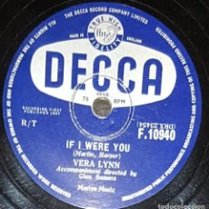 Discos de pizarra: DISCOS 78 RPM - VERA LYNN - ENGLISH SINGER - IF I WERE YOU - ACROSS THE BRIDGE - PIZARRA. Lote 133889346