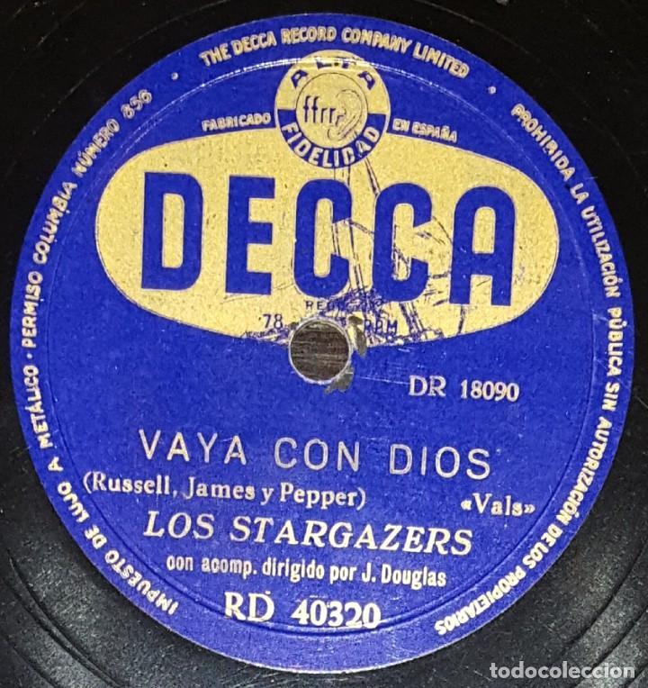 DISCOS 78 RPM - THE STARGAZERS - J. DOUGLAS - VAYA CON DIOS - TÚ, TÚ, TÚ - PIZARRA (Música - Discos - Pizarra - Solistas Melódicos y Bailables)