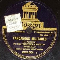 Discos de pizarra: DISCOS 78 RPM - ANGELILLO - NIÑO POSADAS - GUITARRA - FANDANGOS MILITARES - CHICLANERA - PIZARRA. Lote 133894194