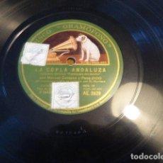 Discos de pizarra: LA COPLA ANDALUZA - MANUEL CENTENO Y PENA ( HIJO ). GRAMÓFONO. AE 2529.. Lote 134360582