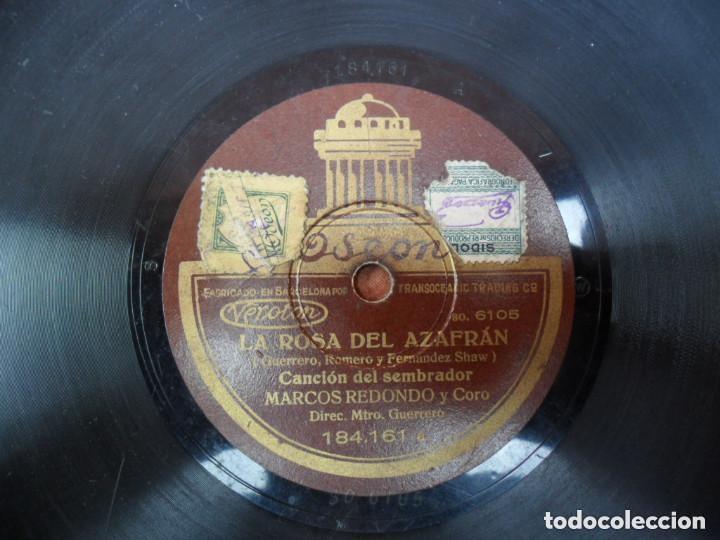 DISCO PIZARRA - ODEON - LA ROSA DEL AZAFRAN - CANCIÓN DEL SEMBRADOR - MARCOS REDONDO Y CORO (Música - Discos - Pizarra - Flamenco, Canción española y Cuplé)