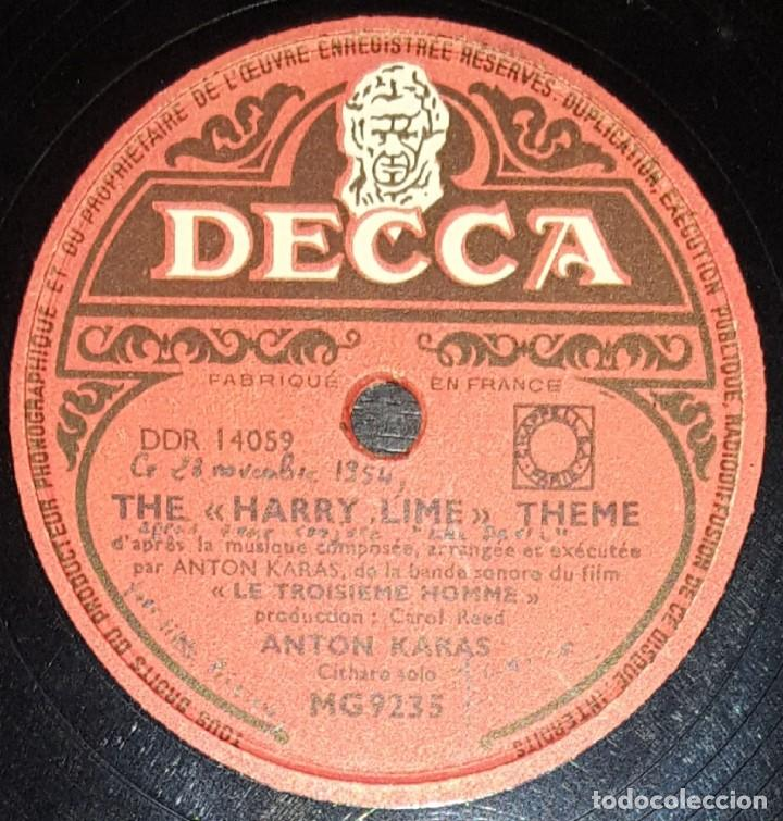 DISCOS 78 RPM - ANTON KARAS - CÍTARA - FILM - EL TERCER HOMBRE - PIZARRA (Música - Discos - Pizarra - Bandas Sonoras y Actores )