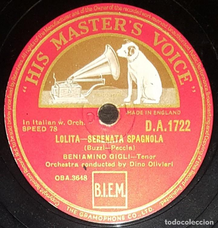 DISCOS 78 RPM - BENIAMINO GIGLI - TENOR - LOLITA - AMOR TI VIETA - FEDORA - PIZARRA (Música - Discos - Pizarra - Clásica, Ópera, Zarzuela y Marchas)