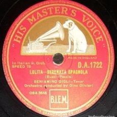 Discos de pizarra: DISCOS 78 RPM - BENIAMINO GIGLI - TENOR - LOLITA - AMOR TI VIETA - FEDORA - PIZARRA. Lote 135197150