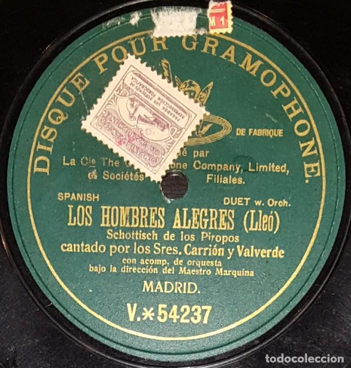 DISCOS 78 RPM - CARRIÓN - VALVERDE - ORQUESTA - LOS HOMBRES ALEGRES - LLEÓ - PIZARRA (Música - Discos - Pizarra - Clásica, Ópera, Zarzuela y Marchas)