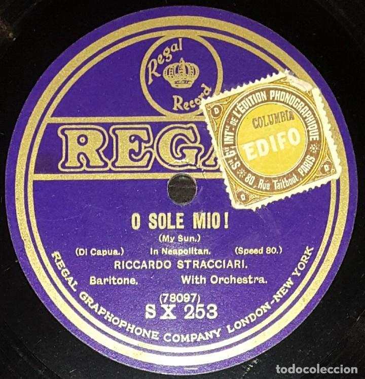 DISCOS 78 RPM - RICCARDO STRACCIARI - BARÍTONO - O SOLE MIO! - DI CAPUA - PIZARRA (Música - Discos - Pizarra - Clásica, Ópera, Zarzuela y Marchas)