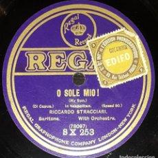Discos de pizarra: DISCOS 78 RPM - RICCARDO STRACCIARI - BARÍTONO - O SOLE MIO! - DI CAPUA - PIZARRA. Lote 135200858