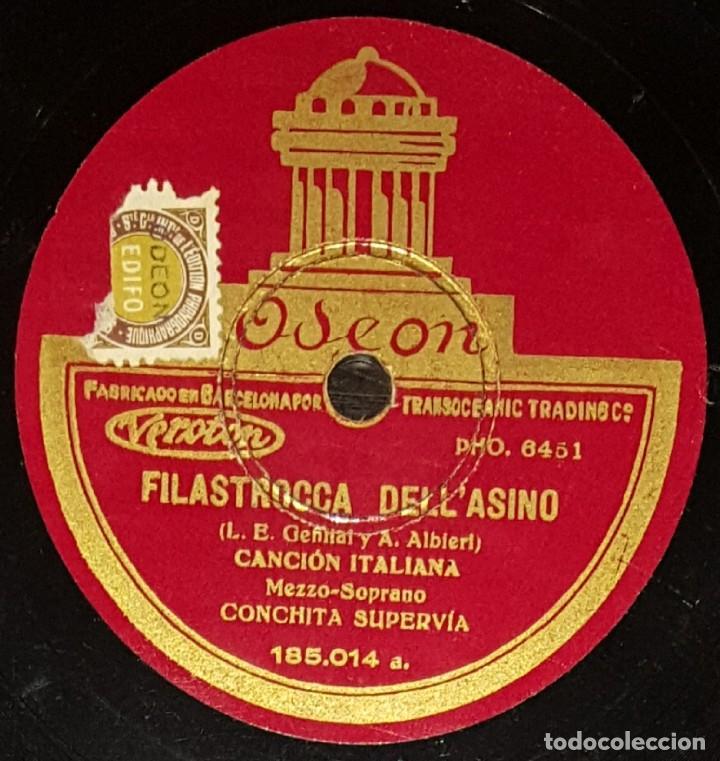 DISCOS 78 RPM - CONCHITA SUPERVÍA - MEZZOSOPRANO - CANCIÓN ITALIANA - PIZARRA (Música - Discos - Pizarra - Clásica, Ópera, Zarzuela y Marchas)