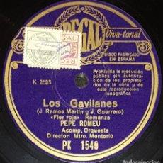 Discos de pizarra: DISCOS 78 RPM - PEPE ROMEU - TENOR - ORQUESTA - LOS GAVILANES - LOS BLASONES - ROMANZA - PIZARRA. Lote 135203362