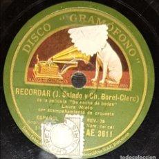 Discos de pizarra: DISCOS 78 RPM - LAURA NIETO - SOPRANO - ORQUESTA - FILM - SU NOCHE DE BODAS - PIZARRA. Lote 135250986