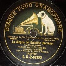 Discos de pizarra: DISCOS 78 RPM - GANDÍA - TENOR - BEUT - BARÍTONO - ORQUESTA - MARQUINA - SERRANO - VIVES - PIZARRA. Lote 135253114