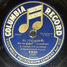 Discos de pizarra: DISCOS 78 RPM - VERGERI - SOPRANO - LA SIERRA - TENOR - ORQUESTA - LA VIUDA ALEGRE - LEHAR - PIZARRA. Lote 135253970