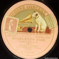 Discos de pizarra: DISCOS 78 RPM - ENRICO CARUSO - TENOR - ÓPERA - RIGOLETTO - VERDI - ITALIA - PIZARRA. Lote 135257766