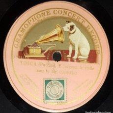Discos de pizarra: DISCOS 78 RPM - ENRICO CARUSO - TENOR - ÓPERA - TOSCA - PUCCINI - E LUCEVAN LE STELLE - PIZARRA. Lote 135259522