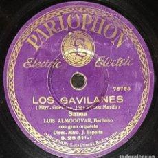 Discos de pizarra: DISCOS 78 RPM - LUIS ALMODÓVAR - BARÍTONO - ZARZUELA - LOS GAVILANES - GUERRERO - PIZARRA. Lote 135386426