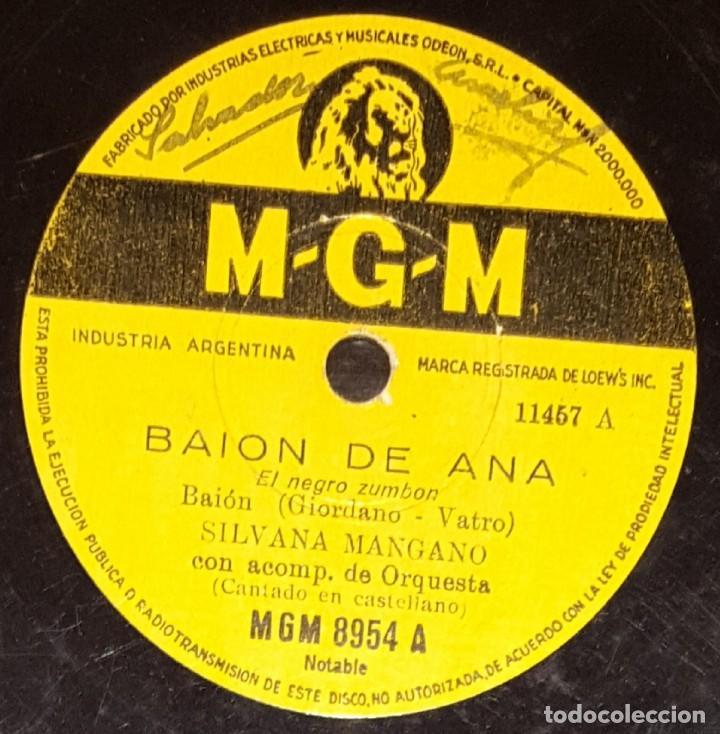 DISCOS 78 RPM - SILVANA MANGANO - ORQUESTA - BAION DE ANA - EL NEGRO ZUMBÓN - MGM - PIZARRA (Música - Discos - Pizarra - Bandas Sonoras y Actores )