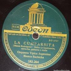 Discos de pizarra: DISCOS 78 RPM - ORQUESTA TÍPICA ARGENTINA BIANCO BACHICHA - TANGO - LA CUMPARSITA - PIZARRA. Lote 135720411