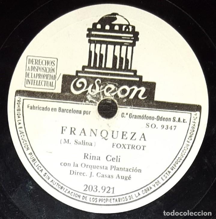 Discos de pizarra: DISCOS 78 RPM - RINA CELI - ORQUESTA PLANTACIÓN - FOX - BÉSAME MUCHO - FRANQUEZA - PIZARRA - Foto 2 - 135817798