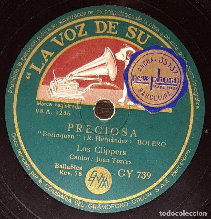 Discos de pizarra: DISCOS 78 RPM - LOS CLIPPERS - JUAN TORRES - QUE BONITA ES BARCELONA - FOXTROT - PIZARRA - Foto 2 - 135819562