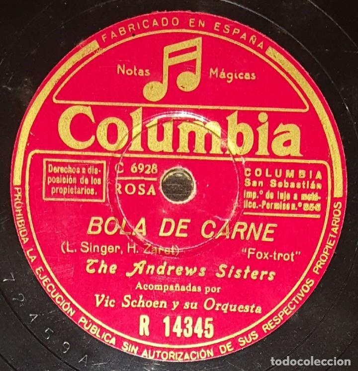 DISCOS 78 RPM - THE ANDREWS SISTERS - ORQUESTA - VIC SCHOEN - FOXTROT - RHUM Y COCA COLA - PIZARRA (Música - Discos - Pizarra - Jazz, Blues, R&B, Soul y Gospel)