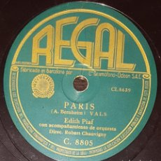 Discos de pizarra: DISCOS 78 RPM - EDITH PIAF - ORQUESTA - PARIS - POUR MOI TOUT´ SEULE - FRANCIA - PIZARRA. Lote 135823950