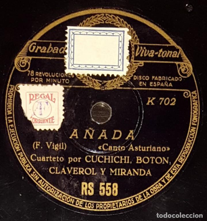 DISCOS 78 RPM - CUCHICHI, BOTÓN, CLAVEROL, MIRANDA - CUARTETO - ASTURIAS - AÑADA - PIZARRA (Música - Discos - Pizarra - Flamenco, Canción española y Cuplé)