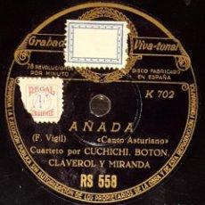 Shellac Records - DISCOS 78 RPM - CUCHICHI, BOTÓN, CLAVEROL, MIRANDA - CUARTETO - ASTURIAS - AÑADA - PIZARRA - 135874842