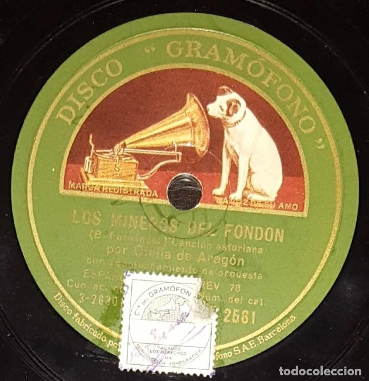 Discos de pizarra: DISCOS 78 RPM - OFELIA DE ARAGÓN - ORQUESTA - ASTURIAS - TORNA - LOS MINEROS DEL FONDON - PIZARRA - Foto 2 - 135875450