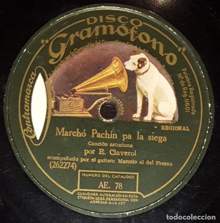 DISCOS 78 RPM - CLAVEROL - MARCELO EL DEL FRESNO - GAITA - A. GONZÁLEZ - PIANO - ASTURIAS - PIZARRA (Música - Discos - Pizarra - Flamenco, Canción española y Cuplé)