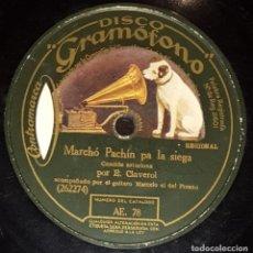 Discos de pizarra: DISCOS 78 RPM - CLAVEROL - MARCELO EL DEL FRESNO - GAITA - A. GONZÁLEZ - PIANO - ASTURIAS - PIZARRA. Lote 136009502