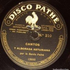 Discos de pizarra: DISCOS 78 RPM - BANDA PATHÉ - 10 1/2 PULGADAS - CANTOS Y ALBORADA ASTURIANA - MONTAÑESES - PIZARRA. Lote 136010166