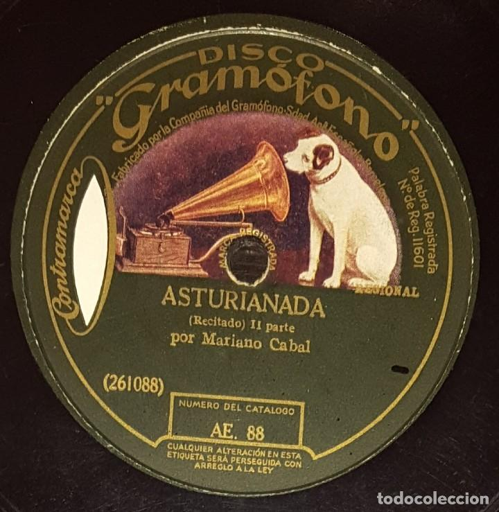Discos de pizarra: DISCOS 78 RPM - MARIANO CABAL - RECITADO - ASTURIANADA - REGIONAL - PIZARRA - Foto 2 - 136011890