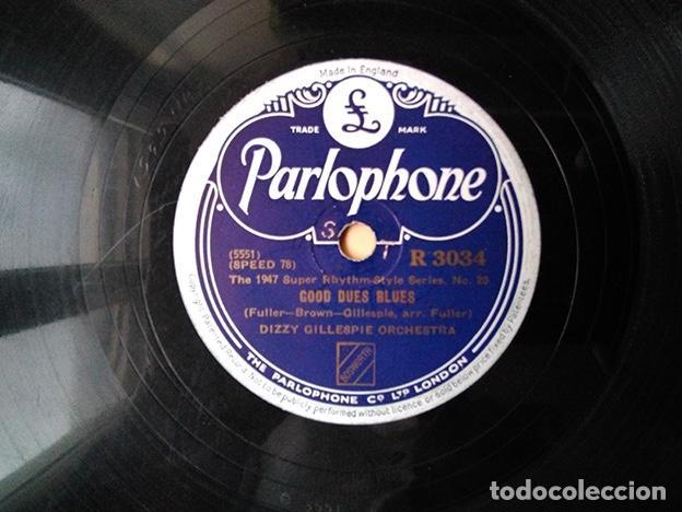 DIZZY GILLESPIE ORCHESTRA, 1947: OUR DELIGHT - GOOD DUES BLUES - PARLOPHONE R3034 (Música - Discos - Pizarra - Jazz, Blues, R&B, Soul y Gospel)