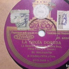 Disques en gomme-laque: GLORIA PALOMARES Y E. ICABALCETA - LA ORGIA DORADA. Lote 136245386