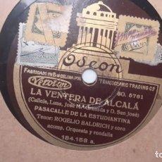 Disques en gomme-laque: ROGELIO BALDRICH - LA VENTERA DE ALCALA. DIFÍCIL. Lote 136245710
