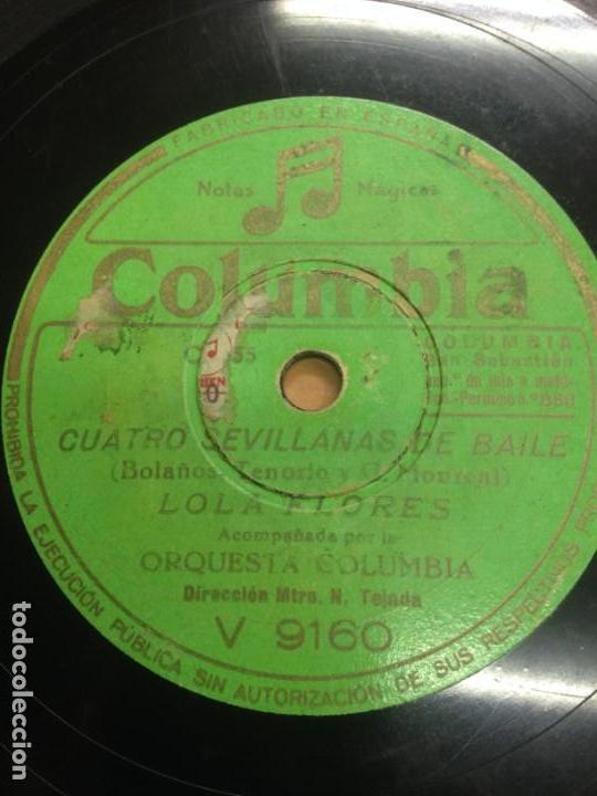 DISCO PIZARRA LOLA FLORES CUATRO SEVILLANAS DE BAILE EDITADO POR COLUMBIA (Música - Discos - Pizarra - Flamenco, Canción española y Cuplé)